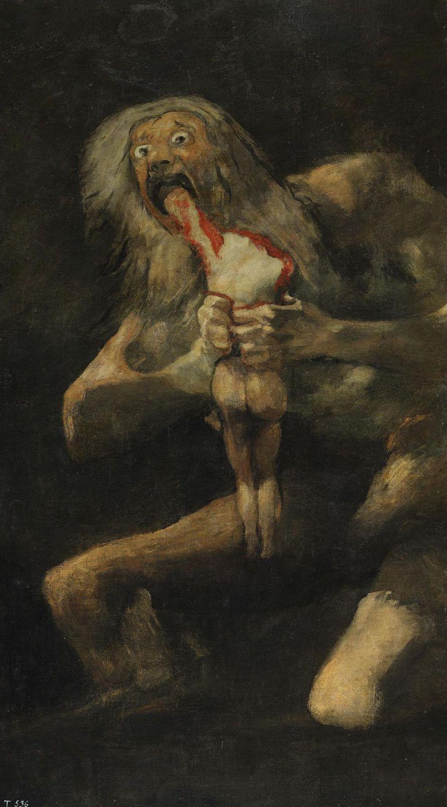 «Сатурн, пожирающий своего сына». Роспись из «Дома Глухого». Изображиние греческого бога Кроноса, который, опасаясь быть свергнутым своим отпрыском, пожирал своих детей. В 1819-1823 гг., Гойя создал серию из 14 фресок на стенах своего дома в Мадриде. Переживший две тяжкие болезни, полностью оглохший Гойя находился в мрачном состоянии духа. Его также не могли не тревожить неудачи Испанской революции. Сначала Гойя создал фрески на более светлую тематику, но потом написал поверх них новые, «Мрачные картины». Они не предназначались для публики и содержали сцены насилия, жестокости и безысходности.