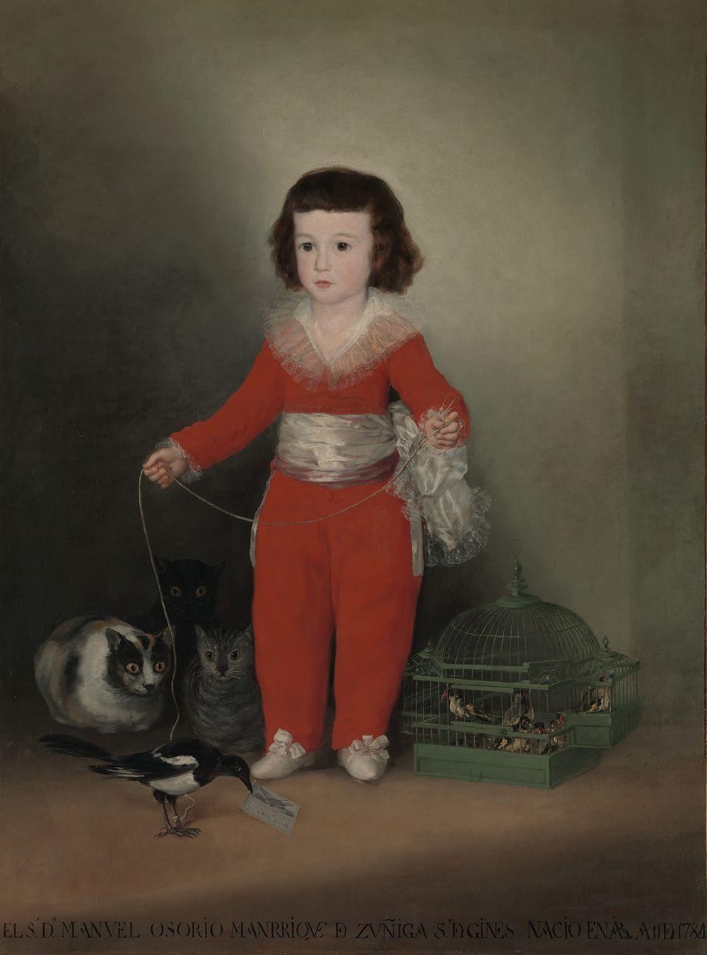 «Дон Мануэль Осорио Манрике де Суньига в детстве». Написана до 1787 года. На полотне изображён мальчик, держащий на привязи сороку, которую подстерегают коты. Птица символизирует любопытство и, возможно, невинность ребёнка. Коты здесь противопоставлены невинности сороки и ребёнка. С правой стороны размещены птицы, заключённые в клетку. Мануэль Осорио скончался в 1792 году, не дожив до 10 лет.