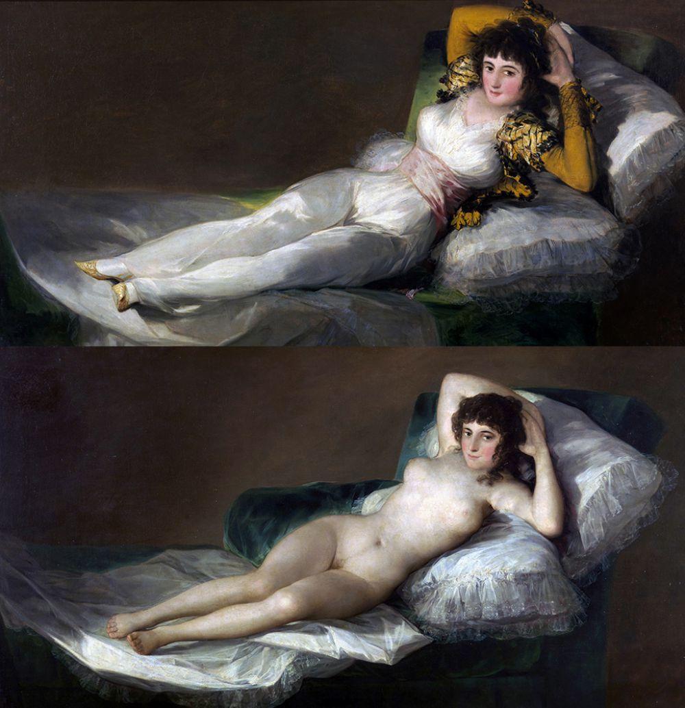 «Махa обнажённая» (ок. 1797—1800 гг.) и «Маха одетая» (ок. 1800—1805 гг.). Махи - так называли испанских горожанок XVIII—XIX вв. — служили излюбленными объектами изображения Гойи. Точно неизвестно, кто был моделью для художника. Бытует мнение, что натурщицей была герцогиня Альба, которую связывали с Гойей продолжительные отношения.