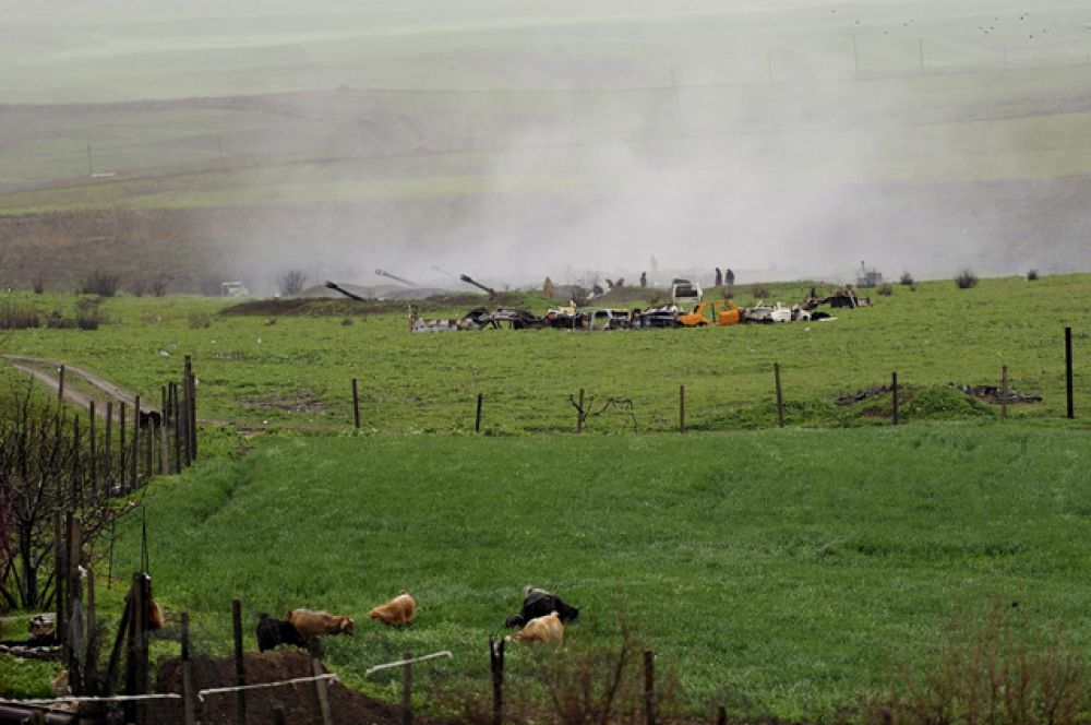 В зоне карабахского конфликта.