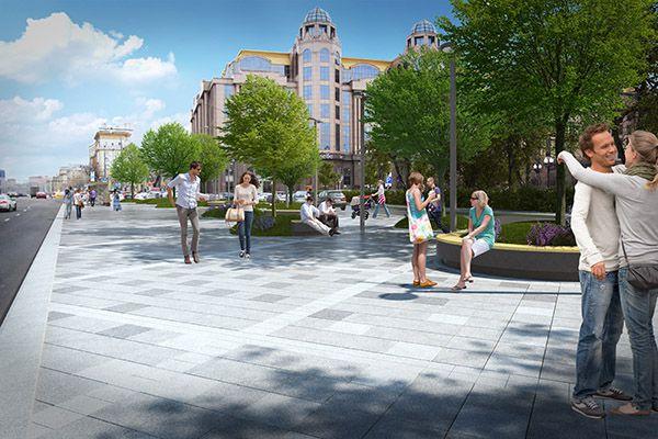 Также предлагается унифицировать ширину проезжей части, чтобы избежать эффекта «бутылочного горлышка» и расширить пешеходную зону на отдельных участках. На тротуарах, для комфорта горожан, установят современную уличную мебель, а все фонари заменят на энергоэффективные. На фото Кудринская площадь.