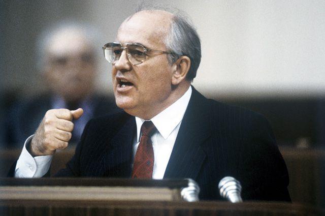 Генеральный секретарь ЦК КПСС, Председатель Президиума Верховного Совета СССР Михаил Сергеевич Горбачев выступает на I съезде народных депутатов СССР (25 мая - 9 июня 1989 года) в Кремлевском Дворце съездов.
