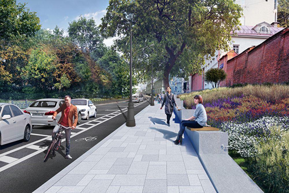 Архитекторы предлагают создать вдоль бульваров единую пешеходную зону и дополнительно ее озеленить, обустроить газоны, цветники. А перед Богородице-Рождественским монастырем – организовать небольшой сад.