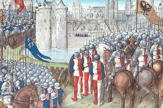 Осада крестоносцами Дамаска в 1148 г. армиями короля Иерусалима Балдуина III, короля Франции Людовика VII и короля Германии Конрада III (двуглавый орёл на флаге - герб Германии того времени).