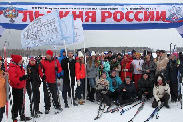 Студнты и преподаватели Политехнического института на всероссийских соревнованиях «Лыжня России-2015».