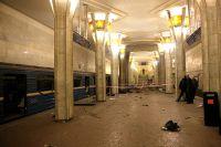 На станции метро «Октябрьская» минского метро после взрыва.
