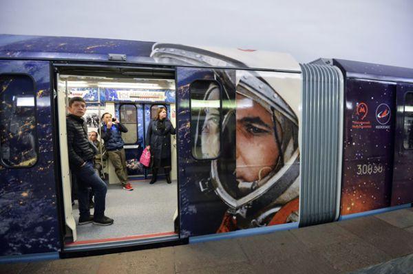 12 апреля 2016 года запущен поезд московского метрополитена, оформленный ко Дню космонавтики и посвященный 55-летию первого полета человека в космос.
