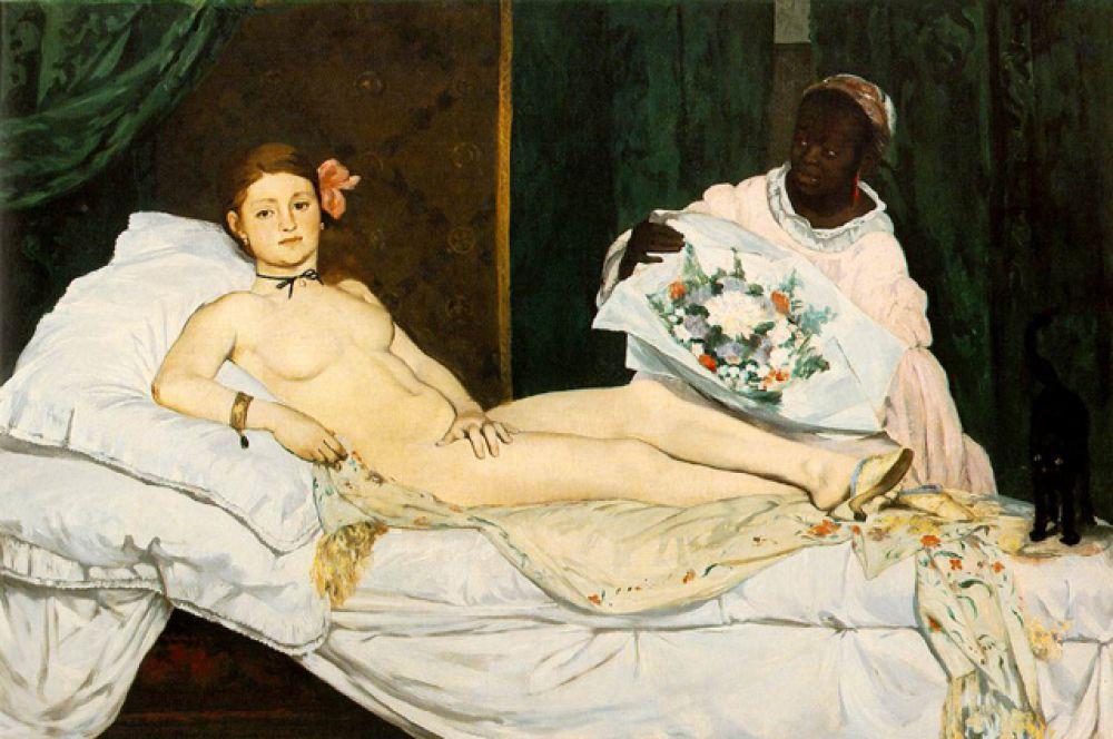 В 1863 году Мане пишет свою знаменитую «Олимпию». Картина стала причиной одного из самых больших скандалов в истории искусства на Парижском салоне 1865 года, где критики назвали изображенную женщину антагонисткой Венеры, куртизанкой.