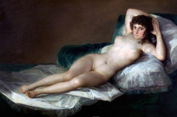 Или в знаменитой работе Франсиско Гойи «Маха обнажённая» (около 1797 – 1800).