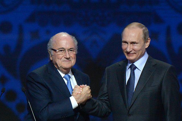Йозеф Блаттер и Владимир Путин.