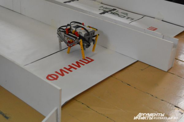 На соревнованиях роботы показывают разные «навыки», к примеру, этот должен был без помех дойти до финиша как можно быстрее.