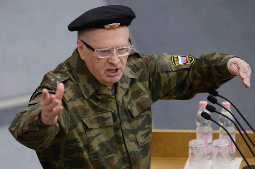 Руководитель фракции ЛДПР Владимир Жириновский выступает на пленарном заседании Госдумы РФ, 2014 год.