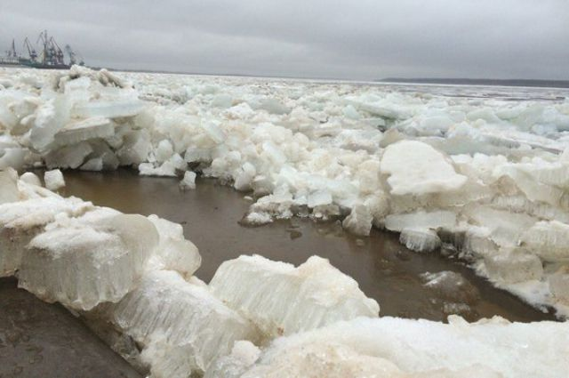 Первые признаки ледохода на Оби возле Сургута.