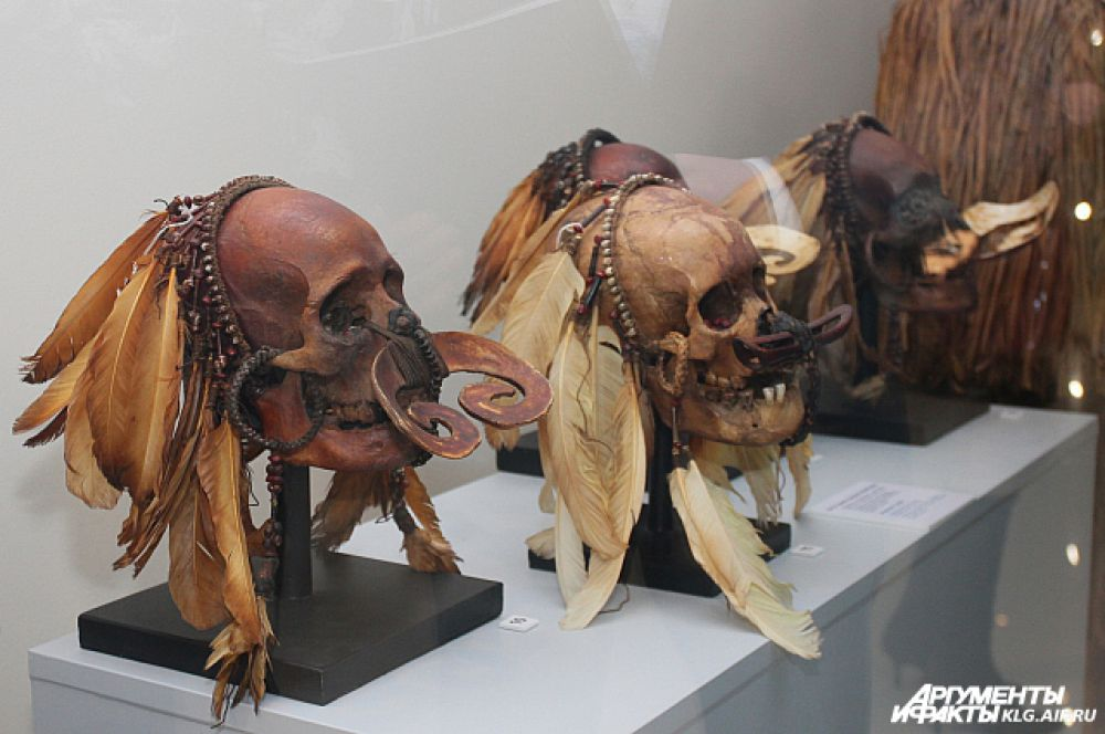 Туземцы украшали черепа серьгами, подвесками из бусин и зёрен, надевали на них головные уборы.