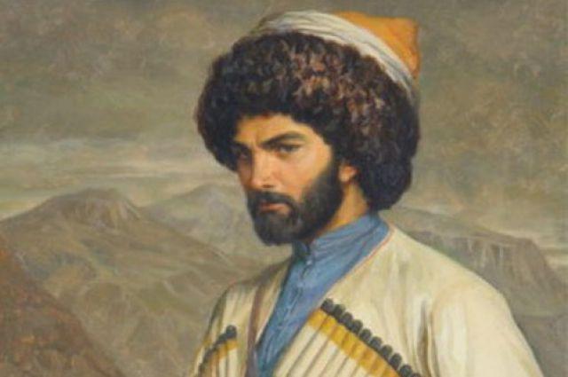 Хаджи-Мурат на фоне села Хунзах. Рисунок Г. Г. Гагарина, 1848.