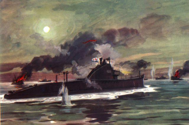 Подвиг экипажа подводной лодки «Щ-408». Художник И. Родионов.