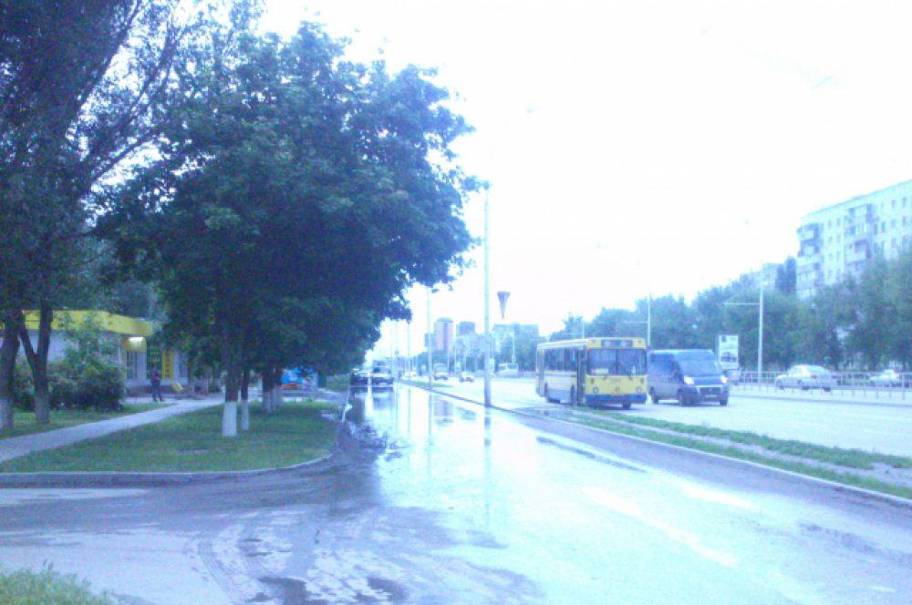 13 мая. Проспект Строителей после дождя. С остановки на автобус люди должны идти через огромную лужу.
