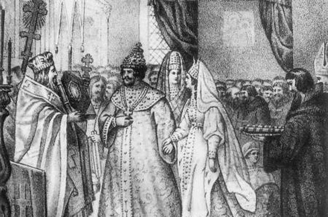 Венчание Ивана III с Софьей Палеолог в 1472 г. Гравюра XIX в.