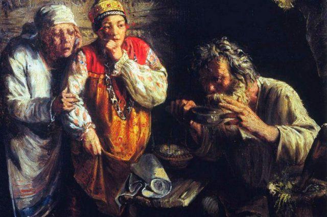 Репродукция картины Г. Мясоедова «Знахарь». 1860 г.