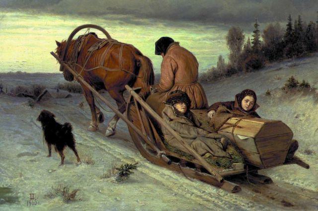Василий Григорьевич Перов (1833-1882). Проводы покойника. 1865.