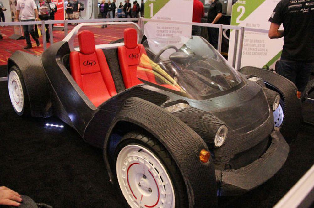 Автомобиль. В 2014 году на автомобильном шоу SEMA в Лас-Вегасе была представлена машина, напечатанная на 3D-принтере за 44 часа.