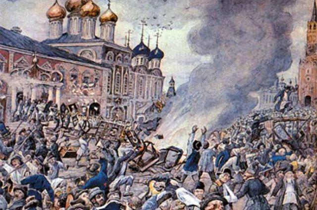 Чумной бунт 1771 года, акварель Эрнеста Лисснера.