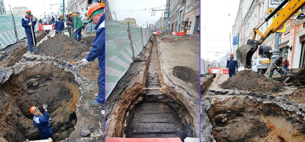 Фрагменты мостовой были обнаружены во время работ в районе дома № 16.