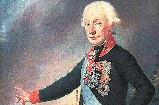 Портрет А. В. Суворова в мундире гвардейского Преображенского полка. Фрагмент картина Иосифа Крейцингера, 1799 г.