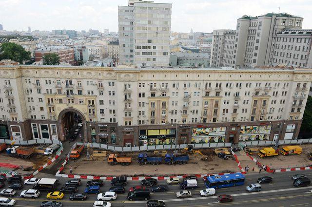 Масштабная реконструкция Тверской улицы в Москве.