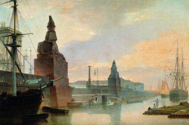 Университетская пристань в 1835 году.