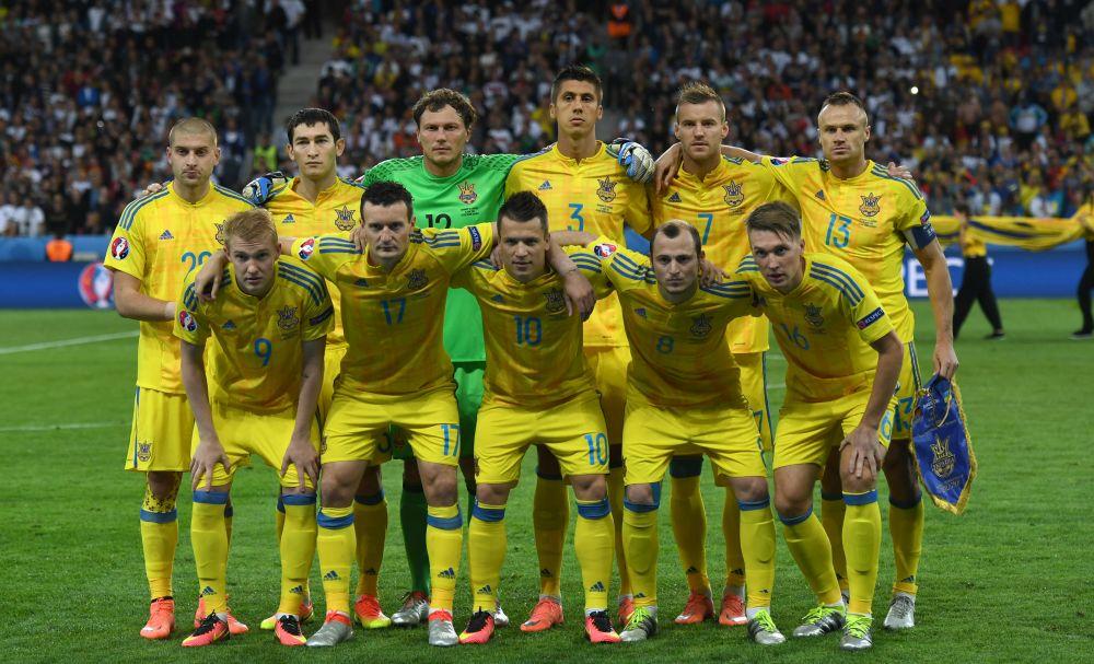Сборная Украины перед началом матча со сборной Германией.