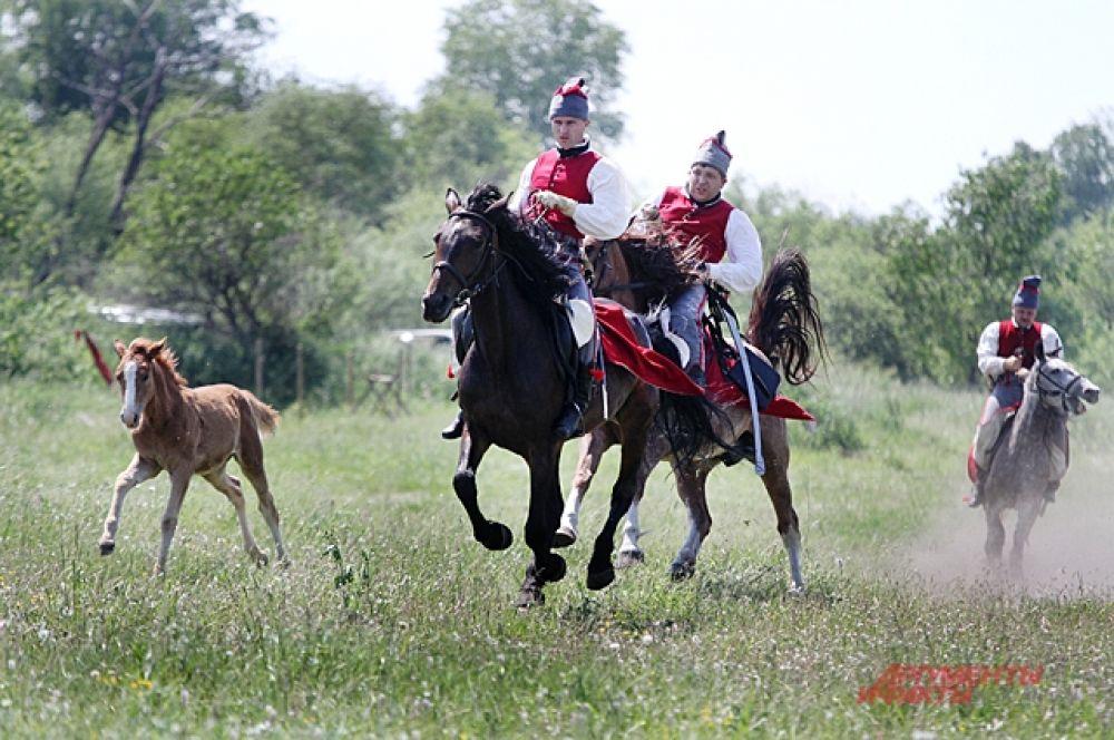 Пока они бьются с противниками, мы наблюдаем красивую картину. И словно, попадаем в средневековье. В поле скачет часть средневековых воинов, они налегке без обмундирования и совершено не воинственно настроены.