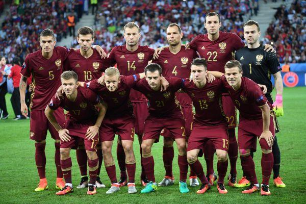 Сборная России перед началом игры.