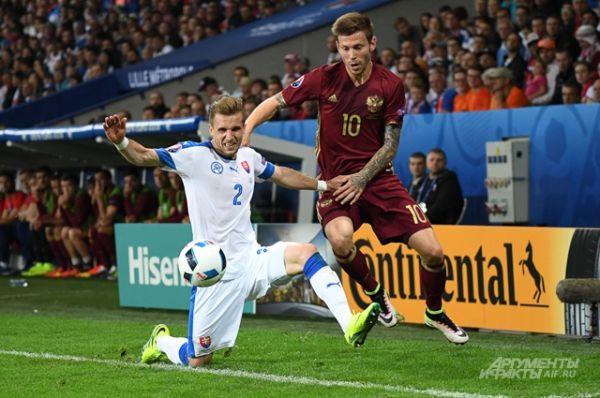 Во время матча Россия – Словакия.