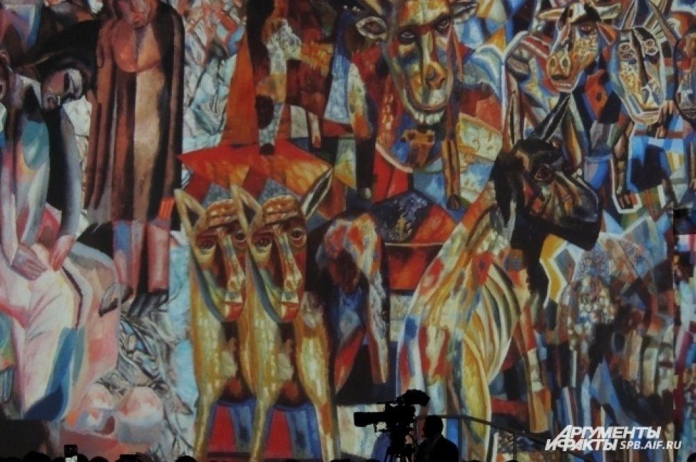 На церемонии открытия организаторы показали картины русских художников