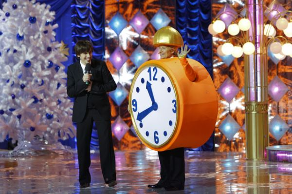 Николай Басков и Максим Галкин на съемке новогоднего шоу, 2009 год.