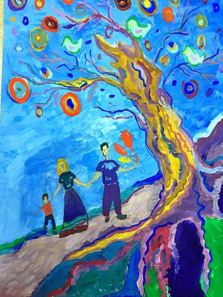 Участник №1. Рыкова Дарья и Гилева Мария. МБОУ г. Иркутска СОШ № 39. «Древо семейной любви»