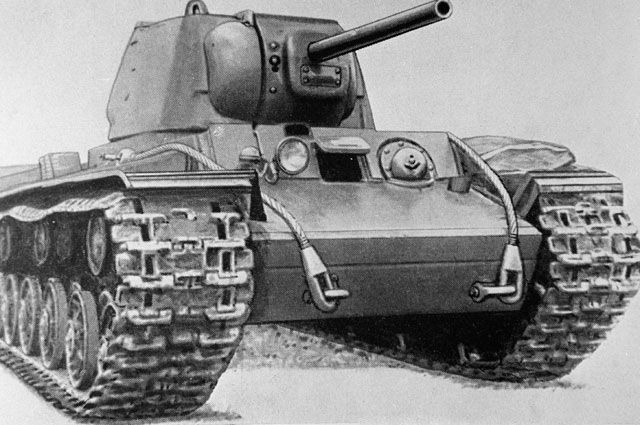 Репродукция рисунка с изображением тяжелого танка КВ-1 из собрания музея бронетанковых войск СССР.