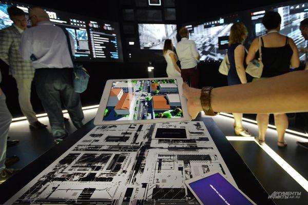 Центром экспозиции стала виртуальная модель центральных улиц Москвы с результатами реконструкции.