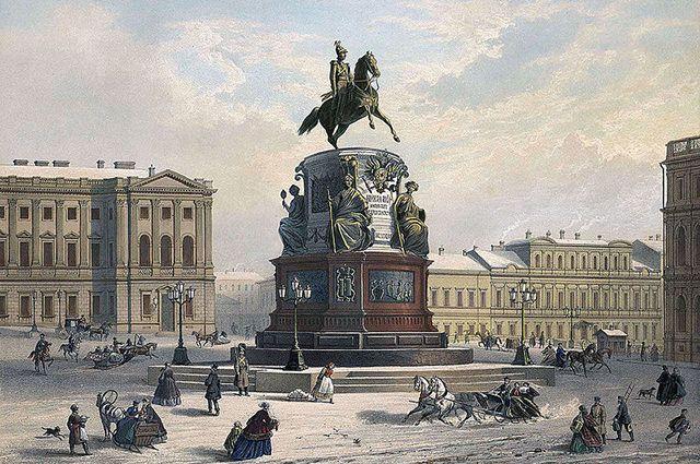 Памятник Николаю I в Санкт-Петербурге в XIX веке, литография по рисунку И. Шарлеманя.