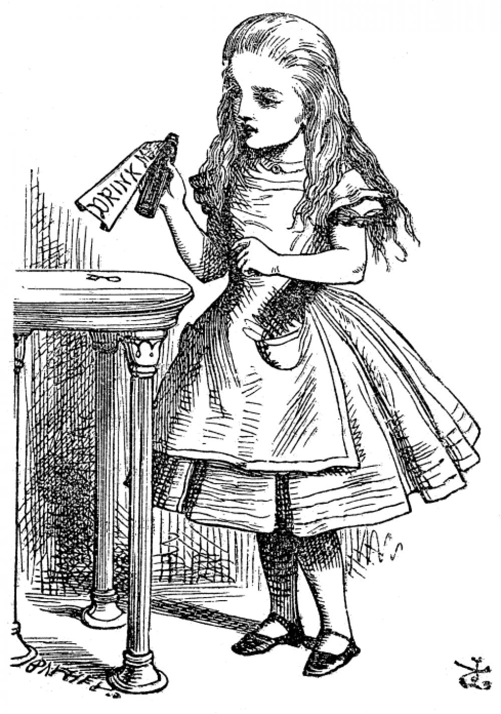 Однако Кэрролл рисовал скорее на любительском уровне, поэтому для первой публикации автор стал сотрудничать с Джоном Тенниелом, который создал 42 чёрно-белые иллюстрации. Среди издателей именно иллюстрации Тенниела остаются наиболее популярными.