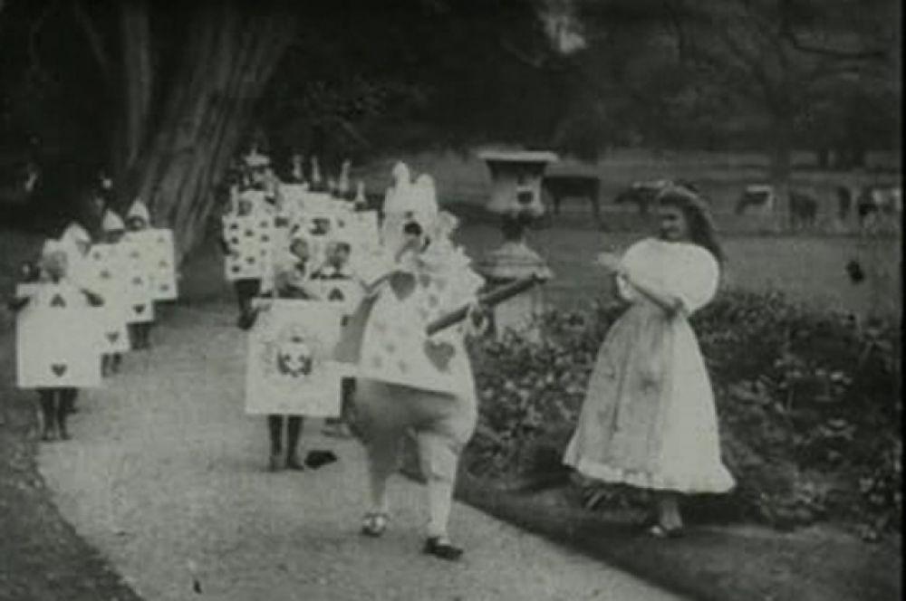 Первая экранизация «Алисы в Стране чудес» состоялась 17 октября 1903 года. Это был немой чёрно-белый фильм. До наших дней чудом сохранилась только одна неполная копия продолжительностью около 8 минут. В оригинале фильм длился около 10—12 минут, что было значительно длиннее обычного британского кинофильма тех лет.