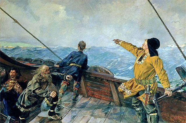 Лейф Эрикссон открывает Америку. Кристиан Крог, 1893 год.