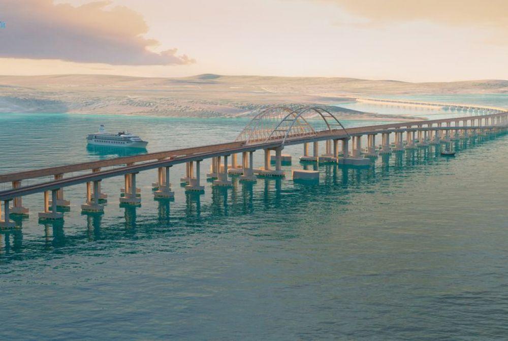 По сути, Крымский мост будет включать в себя сразу два моста: один – с четырёхполосной трассой, второй – с двухпутной железной дорогой для поездов. Над судоходной частью Керченского пролива возведут арку шириной 227 метров и высотой 35 метров для прохода кораблей