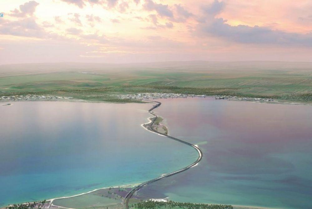 Непосредственно к строительству 19-километрового транспортного перехода между полуостровом и материковой Россией через остров Тузла приступили в конце февраля 2016 года.