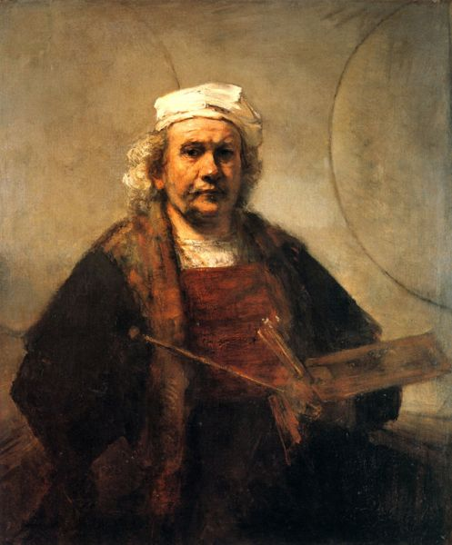 «Автопортрет» (1665). Создавая эту картину, Рембрандт отказался от театральных приемов, свойственных его ранним автопортретам, и изобразил себя очень просто. Значение двух кругов на стене до сих пор не выяснено и остается предметом нескончаемых споров.