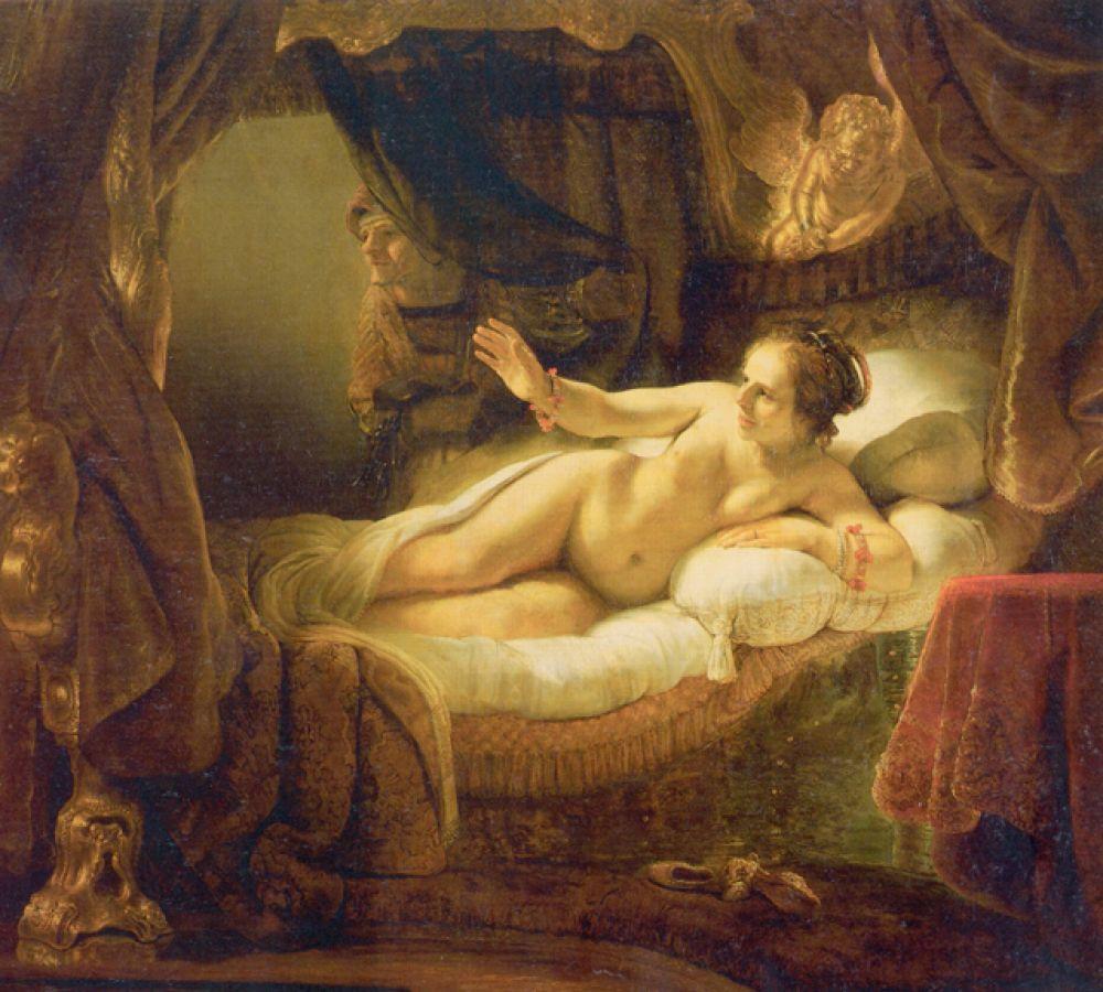 «Даная» (1636—1647). Эту картину считают одной из вершин в творчестве Рембрандта и лучшим изображением обнаженной женской натуры в живописи XVII века. Классический сюжет картины — явление Зевса в виде золотого дождя к находящейся в заключении девушке. В 1985 году полотно было сильно повреждено зрителем, плеснувшим на него кислотой и порезавшим его ножом.