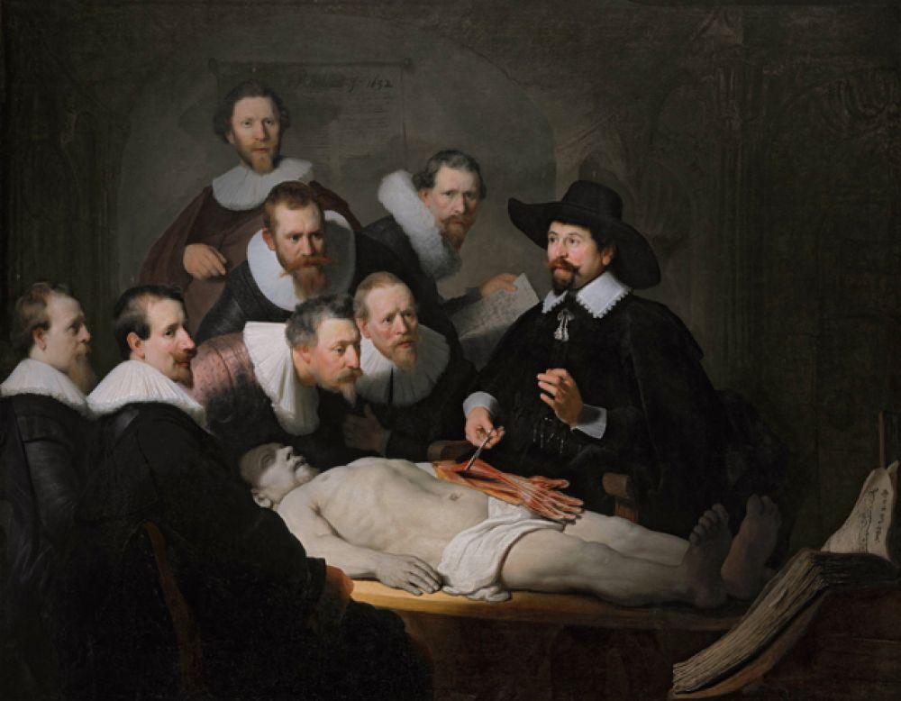 «Урок анатомии доктора Тюльпа» (1632). При подготовке к уроку анатомии гильдия хирургов заказала Рембрандту групповой портрет, которые были очень популярны в Голландии в то время. Портрет предназначался для резиденции гильдии, где проходил урок анатомии. Центральная фигура картины — доктор Николас Тюльп, который показывает собравшимся устройство мускулатуры руки человека.