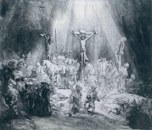«Три креста» (1653). Один из самых знаменитых офортов Рембрандта. Подписано и датировано только третье состояние, остальные художник считал промежуточными. Пятое состояние — очень редкое, известно только пять экземпляров. На картине изображён драматичный момент смерти Христа на Голгофе.