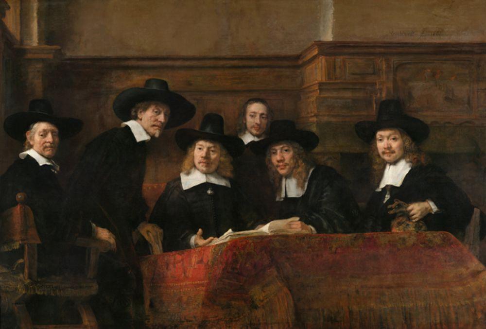 «Синдики» (1662). Групповой портрет, написанный Рембрандтом по заказу ежегодно избираемых членов амстердамской гильдии суконщиков, призванных следить за качеством тканей, произведенных и окрашенных в городе.